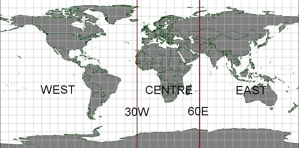 Aggregation areas West, Central and East on world map.